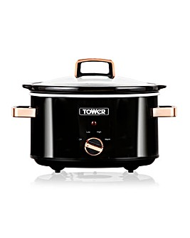Tower 3.5Litre Black and Rose Gold Slow Cooker