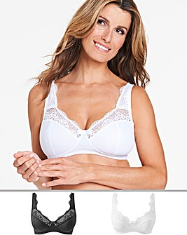 2 Pack Lottie Lace Non Wired Bras