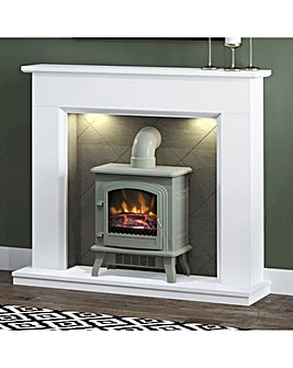 Be Modern Kingsbridge Fire Suite with Grey Colman and Flue Pipe
