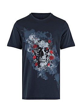 Skull Rose Graphic T-Shirt Long