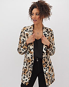 Leopard Printed Throw On Blazer