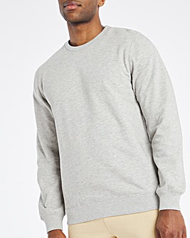 Grey Marl Crew Neck Sweat Long