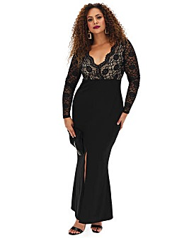 Lace Top Bodycon Maxi Dress