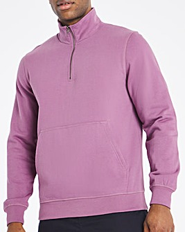 Purple Quarter Zip Sweat Long