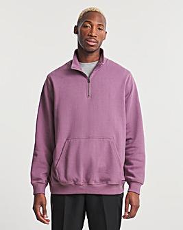 Purple Quarter Zip Sweat Long