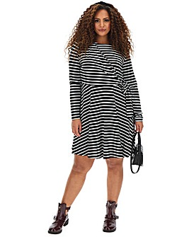 Stripe Tie Front Skater Dress