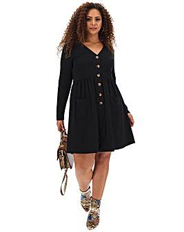 Black Button Through Skater Dress