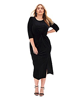 Velour Twist Front Midi Dress