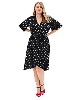 Spot Print Dipped Hem Midi Dress