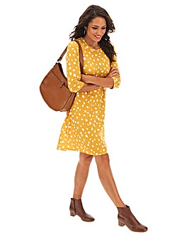 Ochre Spot Long Sleeve Swing Dress