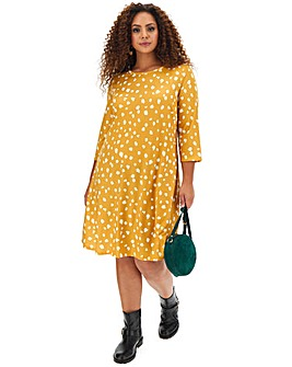 Ochre Spot Swing Dress