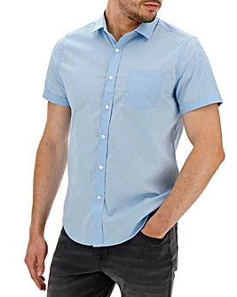 Light Blue Polka Dot Short Sleeve Shirt