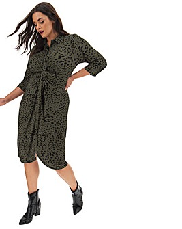 Khaki Animal Print Twist & Tie Front Shirt Dress