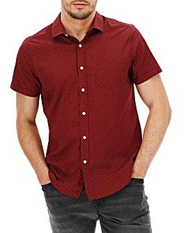 Wine Polka Dot Short Sleeve Shirt