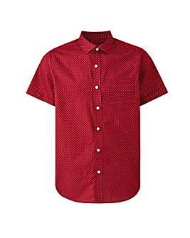 Wine Polka Dot Short Sleeve Shirt Long