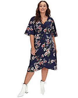Navy Floral Kimono Sleeve Wrap Dress