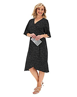 Black Spot Kimono Sleeve Wrap Dress