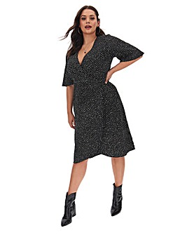 Black Spot Kimono Sleeve Wrap Dress
