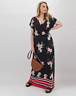 Floral Border Print Wrap Jersey Maxi Dress