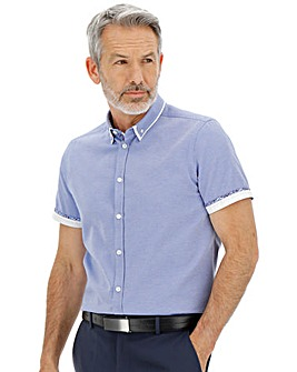 Blue Short Sleeve Textured Double Collar Shirt