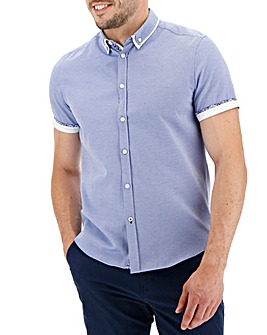 Blue Short Sleeve Textured Double Collar Shirt Long