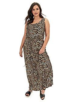 Leopard Print Vest Maxi Dress