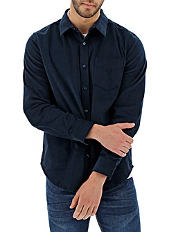 Navy Long Sleeve Stretch Pinwale Cord Shirt Long