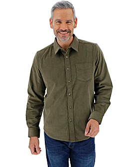 Khaki Long Sleeve Stretch Pinwale Cord Shirt