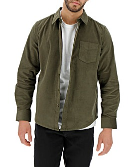 Khaki Long Sleeve Stretch Pinwale Cord Shirt Long