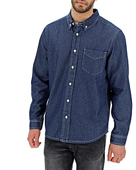 Stonewash Long Sleeve Denim Shirt Long