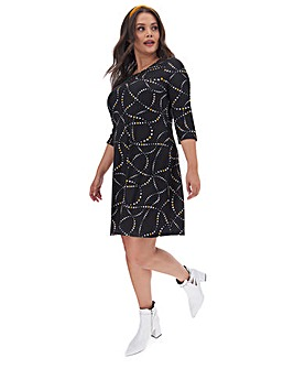 Black Heart Print Swing Dress