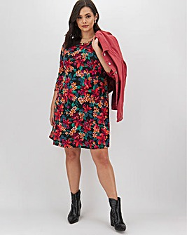 Pink Floral 3/4 Sleeve Swing Dress