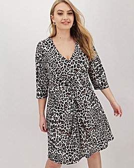 Animal Print Twist Front Swing Dress