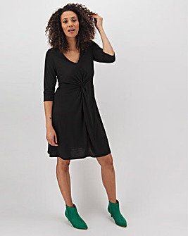 Black Twist Front Swing Dress