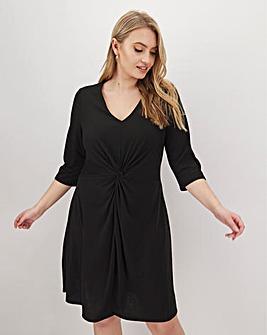 Black Twist Front Swing Dress