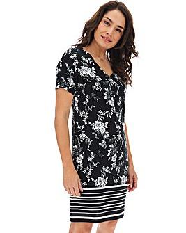 Short Sleeve V-Neck Linen Shift Dress