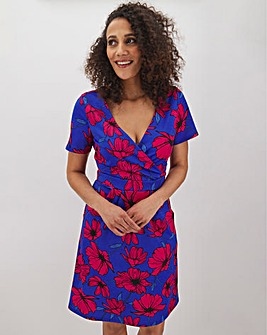 Pink Floral V-Neck Ponte Shift Dress With Pockets