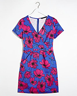 Pink Floral V-Neck Ponte Shift Dress