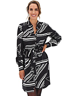 Geometric Mono Print Shirt Dress