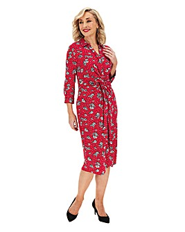 Floral Print Twist & Tie Front Shirt Dress