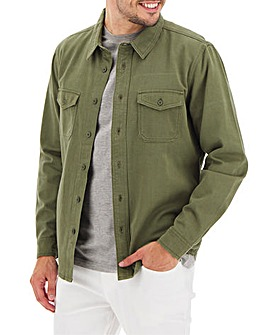 Khaki Long Sleeve Twill Overshirt Long