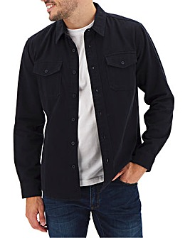 Navy Long Sleeve Twill Overshirt Long