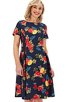 Navy Floral Short Sleeve Skater Dress