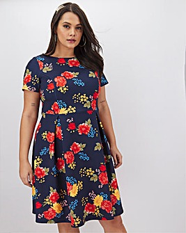 Navy Floral Short Sleeve Skater Dress