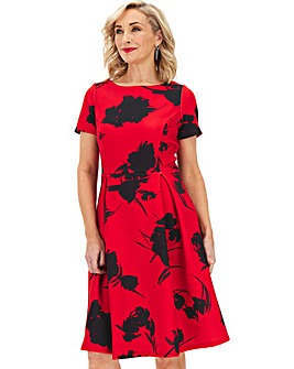 Red Print Mix Short Sleeve Skater Dress