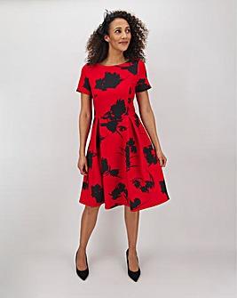 Red Print Mix Short Sleeve Skater Dress