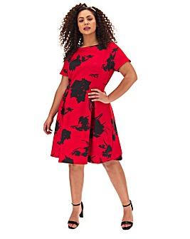 Red Print Short Mix Sleeve Skater Dress