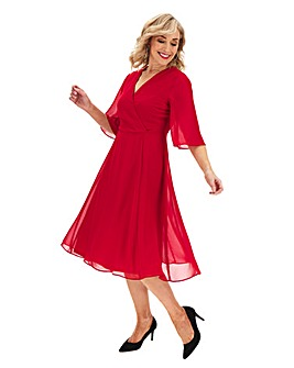 Dark Red Kimono Sleeve Midi Dress