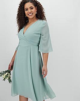Sage Kimono Sleeve Midi Dress