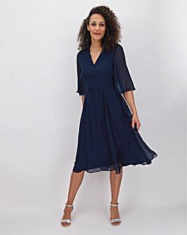 Navy Kimono Sleeve Midi Dress